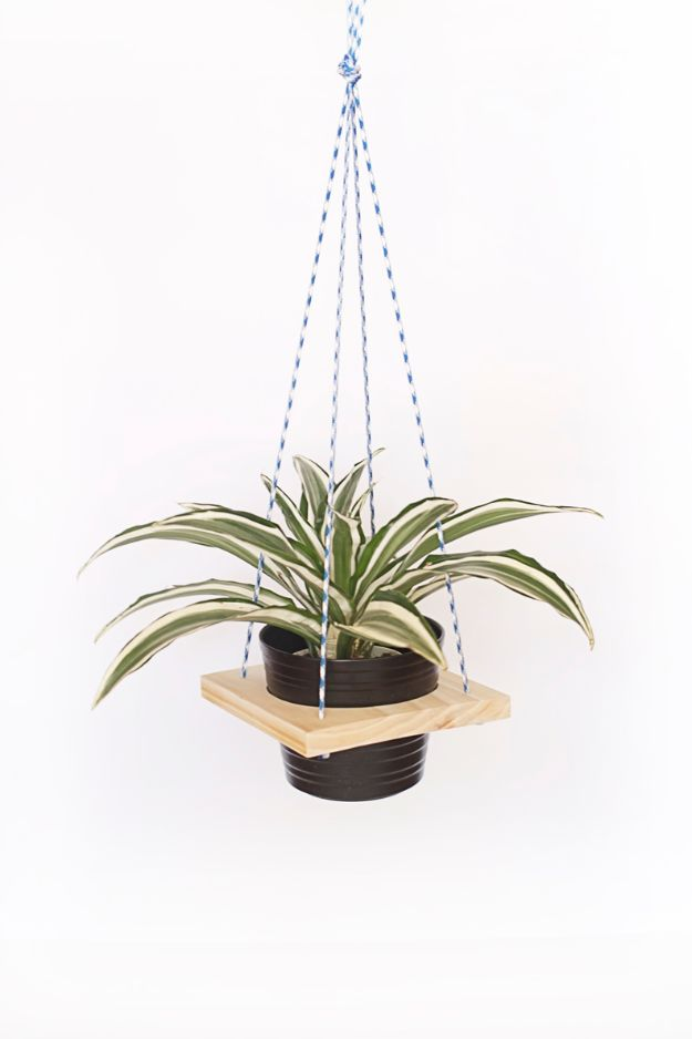 DIY Plant Hangers - Wood DIY Plant Hanger - Cute and Easy Home Decor Ideas for Plants - How To Make Planters, Hanging Pot Holders, Wire, Rope and Baskets - Quick DIY Gifts Ideas, Macrame Plant Hanger #gardening #plants #diyideas