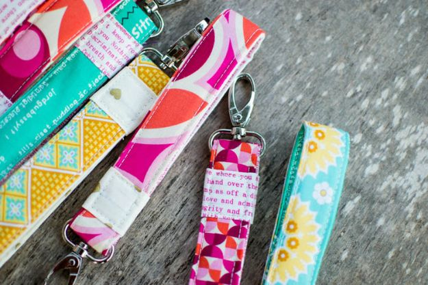 Easy Sewing Projects To Sew For Gifts - Wrist Strap Keychains - Simple Sewing Tutorials and Free Patterns for Making Christmas and Birthday Presents - Cheap Ideas to Make and Sell on Etsy