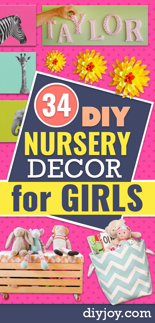 DIY Nursery Decor Ideas for Girls- Cute Pink Room Decorations for Baby Girl - Crib Bedding, Changing Table, Organization Idea, Furniture and Easy Wall Art