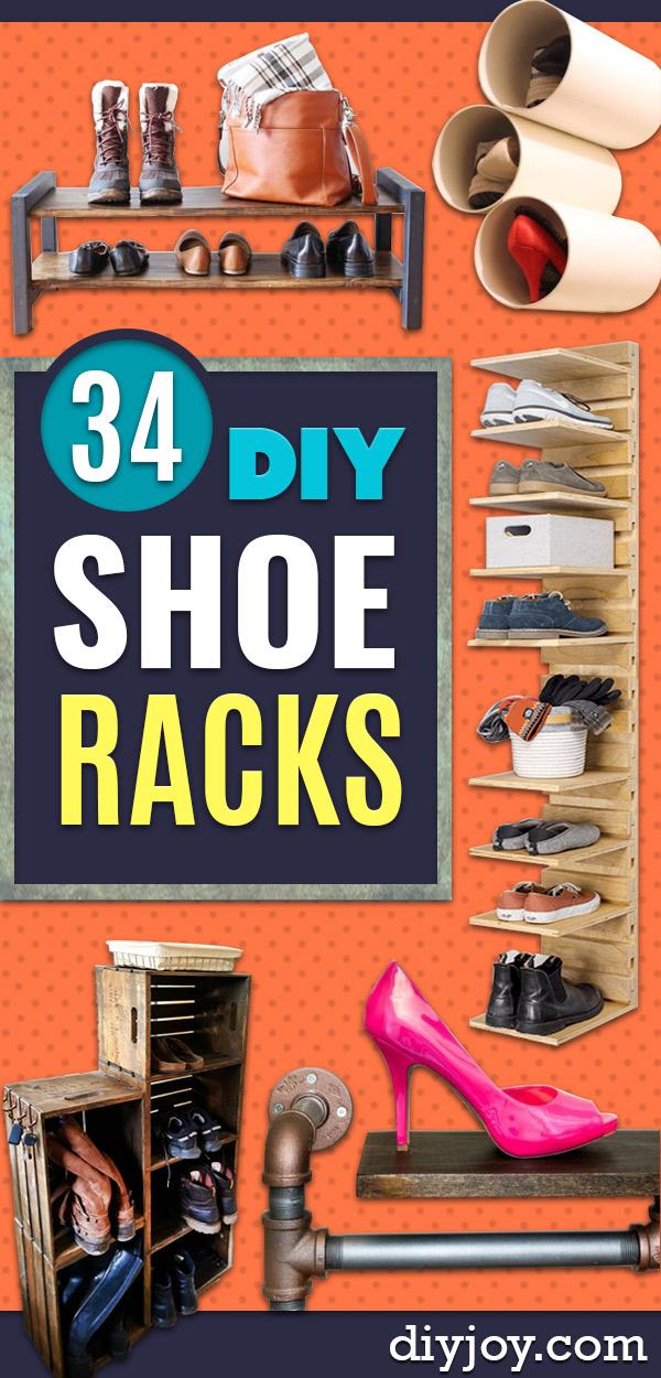 DIY Shoe Racks - Easy DYI Shoe Rack Tutorial - Cheap Closet Organization Ideas for Shoes - Wood Racks, Cubbies and Shelves to Make for Shoes