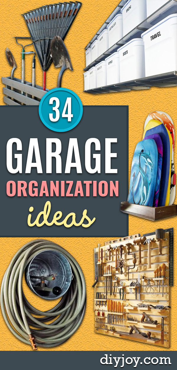 DIY Garage Organization Ideas - Snow & Boogie Board Storage - Cheap Ways to Organize Garages on A Budget - Ideas for Storage, Storing Tools, Small Spaces, DYI Shelves, Organizing Hacks
