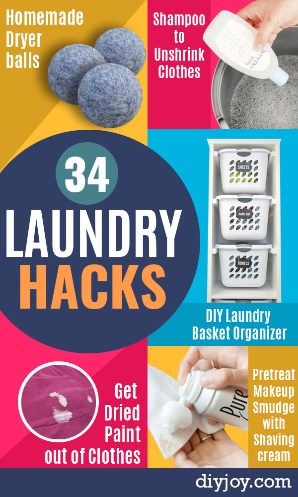 Laundry Hacks - Cool Tips for Busy Moms and Laundry Lifehacks - Laundry Room Organizing Ideas, Storage and Makeover - Folding, Drying, Cleaning and Stain Removal Tips for Clothes - How to Remove Stains, Paint, Ink and Smells - Whitening Tricks and Solutions - DIY Products and Recipes for Clothing Soaps