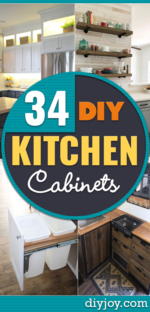 DIY Kitchen Cabinets - Makeover Ideas for Kitchen Cabinet - Build and Design Kitchen Cabinet Projects on A Budget - Cheap Reface Idea and Tutorial