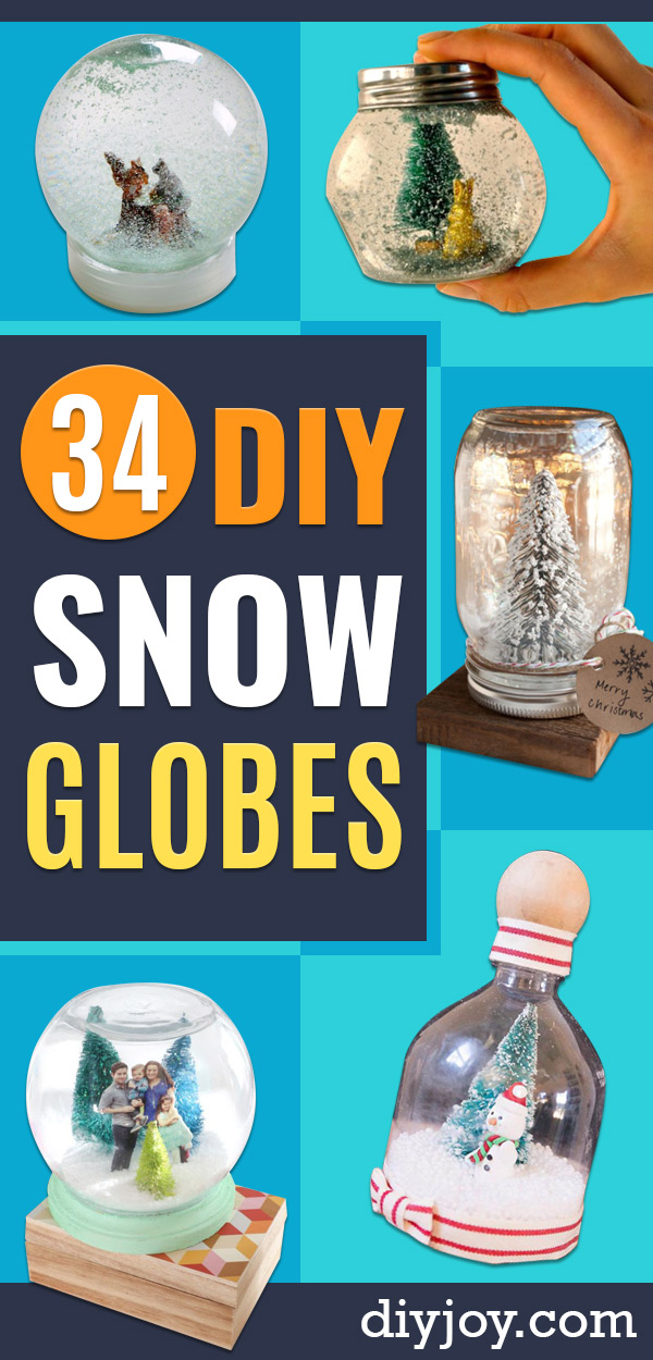 DIY Snow Globe Ideas - Easy Ideas To Make Snow Globes With Kids - Mason Jar, Picture, Ornament, Waterless Christmas Crafts - Cheap DYI Holiday Gift Ideas