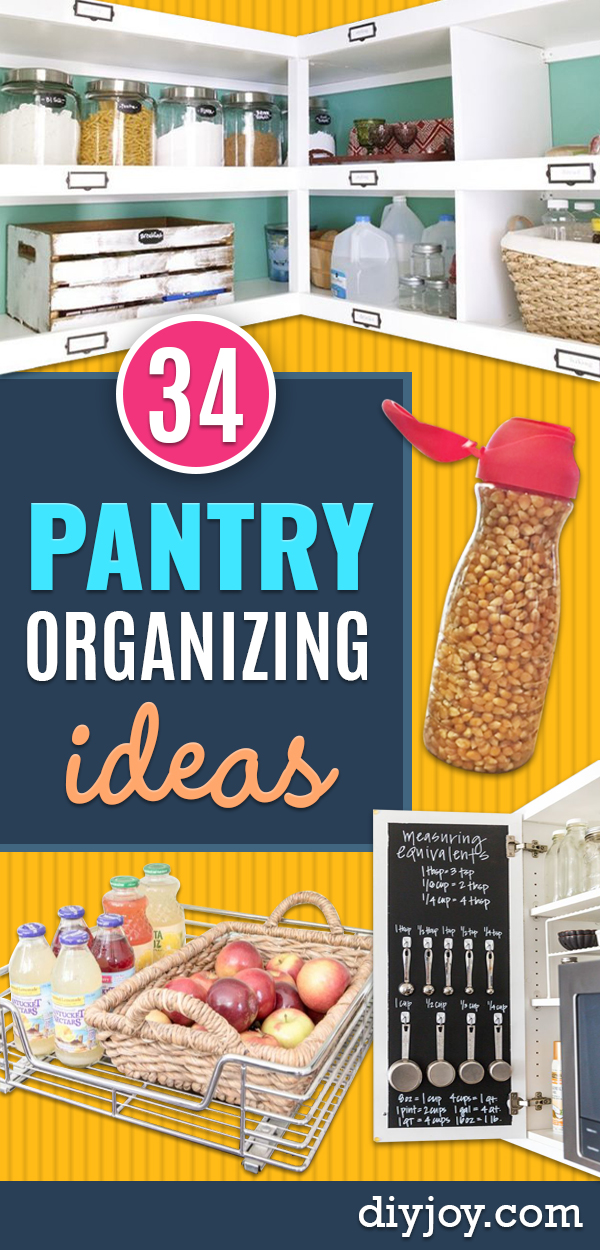 DIY Pantry Organizing Ideas - Easy Organization for the Kitchen Pantry - Cheap Shelving and Storage Jars, Labels, Containers, Baskets to Organize Cans and Food, Spices