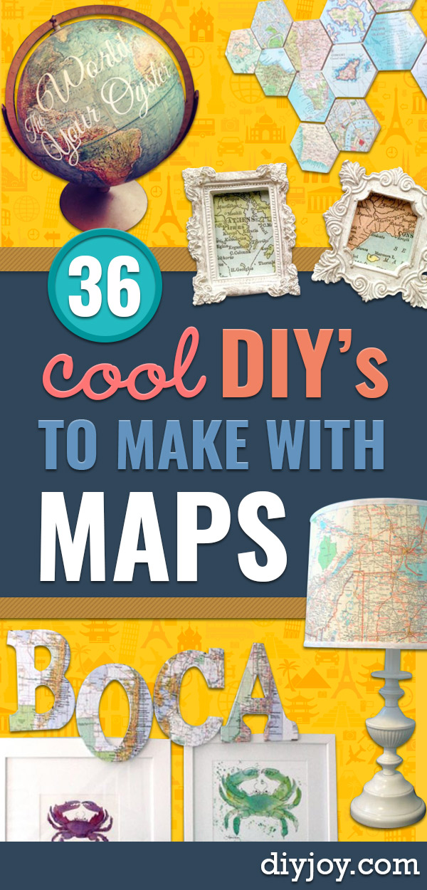 DIY Ideas With Maps - Easy Crafts, Home Decor, Art and Gifts Your Can Make With A Map - Pinboard, Canvas, Painting, Paper Flowers, Signs Projects