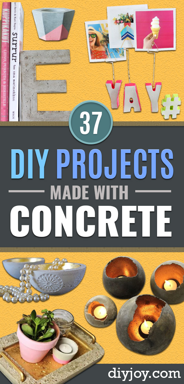 DIY Projects With Concrete - Easy Home Decor and Cheap Crafts Made With Cement - Ideas for DIY Christmas Gifts, Outdoor Decorations