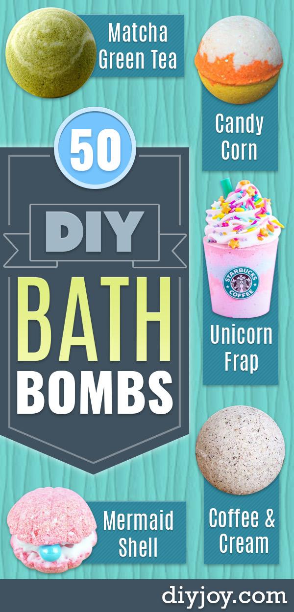 DIY BATH BOMBS - Easy DIY Bath Bomb Recipe Ideas - How to Make Bath Bombs at Home - Best Lush Copycats, Lavender, Glitter Homemade Bath Fizzies #bathbombs #diyideas
