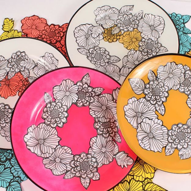 Fun DIY Ideas for Adults - Adult Coloring Book Dishes DIY - Easy Crafts and Gift Ideas , Cool Projects That Are Fun to Make - Crafts Idea for Men and Women