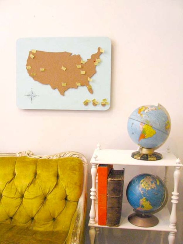 DIY Gifts for Him - American Travel Map - Homemade Gift Ideas for Guys - DYI Christmas Gift for Dad, Boyfriend, Husband Brother - Easy and Cheap Handmade Presents Birthday #diy #gifts #diygifts #mensgifts