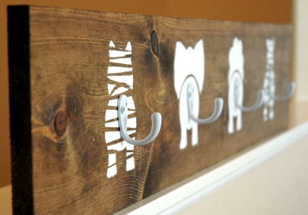 DIY Nursery Decor Ideas for Boys - Animal Bums Coat Hook - Cute Blue Room Decorations for Baby Boy- Crib Bedding, Changing Table, Organization Idea, Furniture and Easy Wall Art