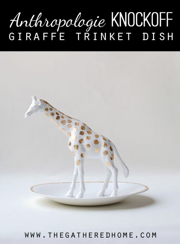 DIY Bedroom Decor Ideas - Anthropologie Inspired Giraffe Trinket Dish - Easy Room Decor Projects for The Home - Cheap Farmhouse Crafts, Wall Art Idea, Bed and Bedding, Furniture