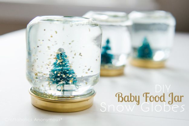 DIY Snow Globe Ideas - Baby Food Jar Snow Globes - Easy Ideas To Make Snow Globes With Kids - Mason Jar, Picture, Ornament, Waterless Christmas Crafts - Cheap DYI Holiday Gift Ideas
