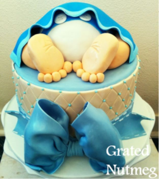 Baby Shower Cakes DIY - Baby Rump Cake - Easy Cake Recipes and Cupcakes to Make For Babies Showers - Ideas for Boys and Girls, Neutral, for Twins