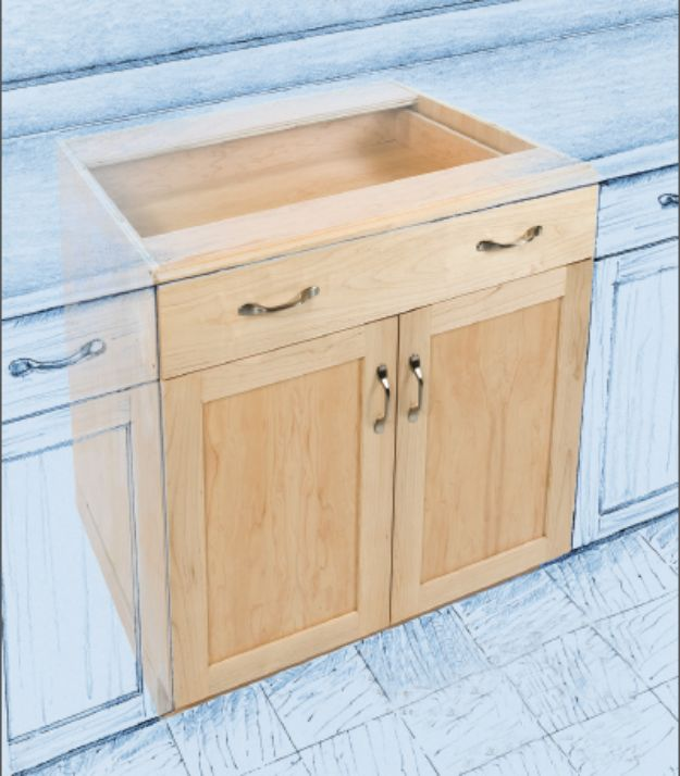 DIY Kitchen Cabinets - Base Cabinet for the Kitchen - Makeover Ideas for Kitchen Cabinet - Build and Design Kitchen Cabinet Projects on A Budget - Cheap Reface Idea and Tutorial