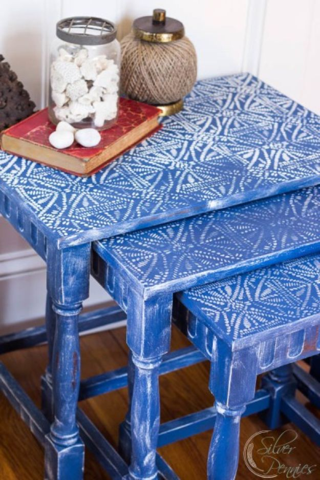 DIY Bedroom Decor Ideas - Batik Nesting Tables - Easy Room Decor Projects for The Home - Cheap Farmhouse Crafts, Wall Art Idea, Bed and Bedding, Furniture