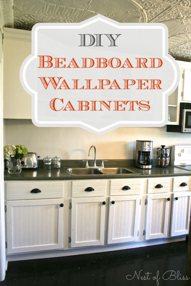 DIY Kitchen Cabinets - Beadboard Wallpaper Cabinet Refresh - Makeover Ideas for Kitchen Cabinet - Build and Design Kitchen Cabinet Projects on A Budget - Cheap Reface Idea and Tutorial