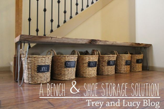 DIY Shoe Racks - Bench & Shoe Storage DIY - Easy DYI Shoe Rack Tutorial - Cheap Closet Organization Ideas for Shoes - Wood Racks, Cubbies and Shelves to Make for Shoes