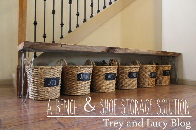 DIY Shoe Racks - Bench & Shoe Storage DIY - Easy DYI Shoe Rack Tutorial - Cheap Closet Organization Ideas for Shoes - Wood Racks, Cubbies and Shelves to Make for Shoes