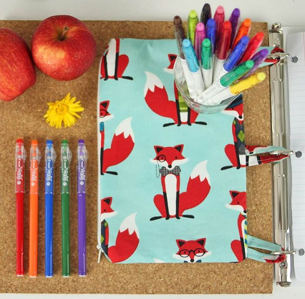 Sewing Projects to Make and Sell - Binder Pencil Case DIY - Easy Things to Sew and Sell on Etsy and Online Shops - DIY Sewing Crafts With Free Pattern and Tutorial