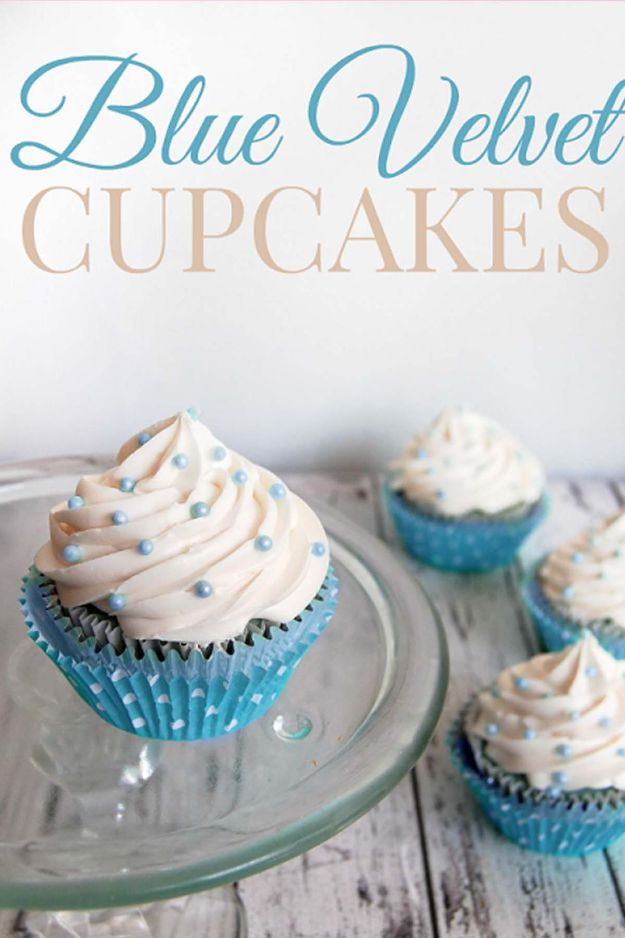 Baby Shower Cakes DIY - Blue Velvet Cupcakes - Easy Cake Recipes and Cupcakes to Make For Babies Showers - Ideas for Boys and Girls, Neutral, for Twins