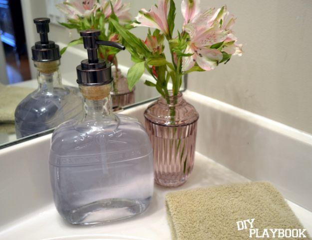 DIY Soap Dispensers - Bourbon Bottle Soap Dispenser - Easy Soap Dispenser Ideas to Make for Kitchen, Bathroom - Mason Jar Idea, Cute Crafts to Make and Sell, Kids Bath Decor