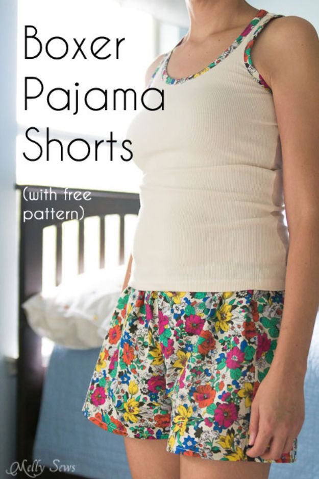 Sewing Projects to Make and Sell - Boxer Pajama Shorts - Easy Things to Sew and Sell on Etsy and Online Shops - DIY Sewing Crafts With Free Pattern and Tutorial