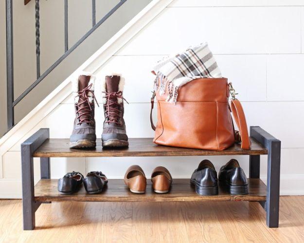 DIY Shoe Racks - Build An Industrial Entryway Shoe Rack - Easy DYI Shoe Rack Tutorial - Cheap Closet Organization Ideas for Shoes - Wood Racks, Cubbies and Shelves to Make for Shoes