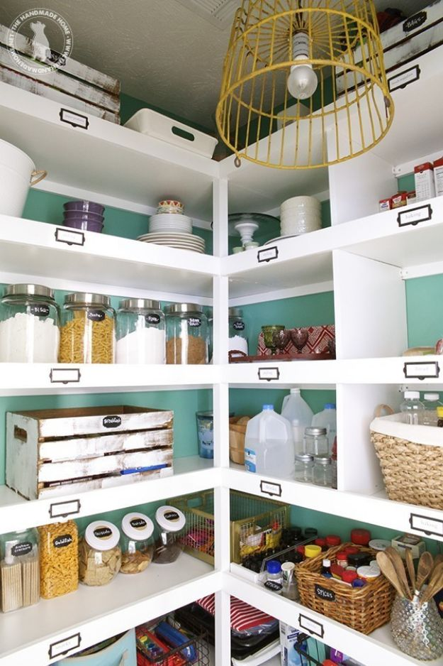 DIY Pantry Organizing Ideas - Build Easy Pantry Shelves - Easy Organization for the Kitchen Pantry - Cheap Shelving and Storage Jars, Labels, Containers, Baskets to Organize Cans and Food, Spices