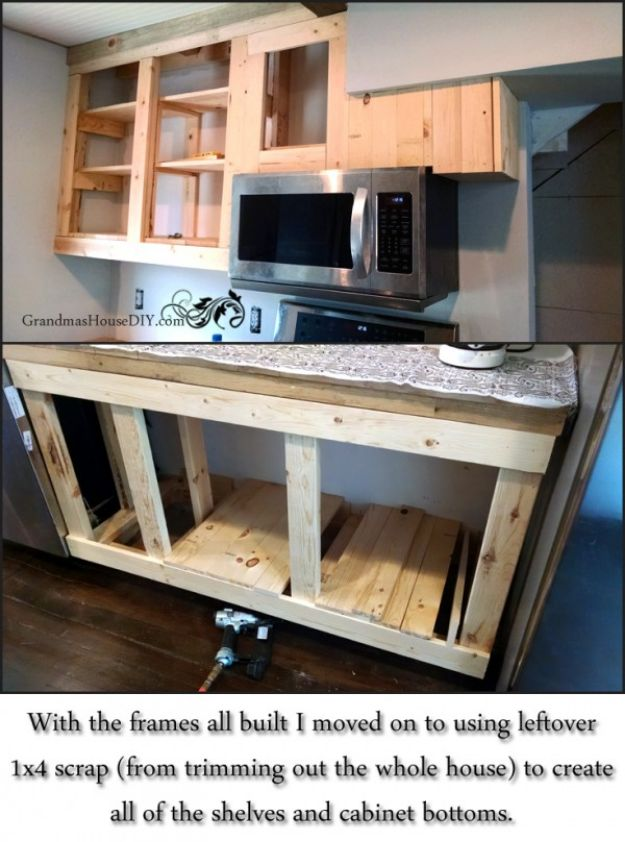 DIY Kitchen Cabinets - Build Your Own Kitchen Cabinets - Makeover Ideas for Kitchen Cabinet - Build and Design Kitchen Cabinet Projects on A Budget - Cheap Reface Idea and Tutorial
