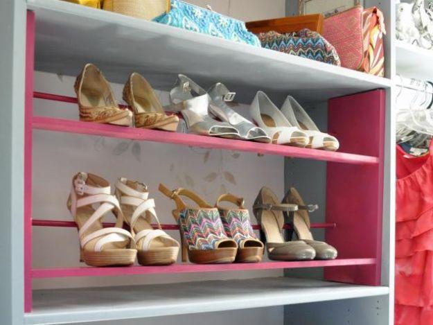 DIY Shoe Racks - Build a Shoe Rack for Your Closet - Easy DYI Shoe Rack Tutorial - Cheap Closet Organization Ideas for Shoes - Wood Racks, Cubbies and Shelves to Make for Shoes
