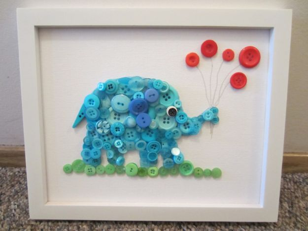 DIY Nursery Decor Ideas for Boys - Button Elephant - Cute Blue Room Decorations for Baby Boy- Crib Bedding, Changing Table, Organization Idea, Furniture and Easy Wall Art