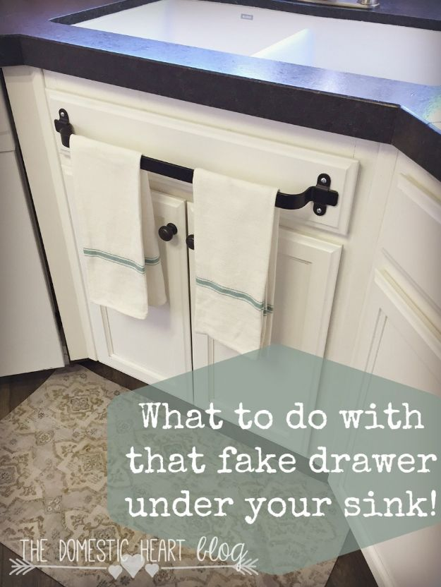 DIY Kitchen Cabinets - Cabinet Towel Bar - Makeover Ideas for Kitchen Cabinet - Build and Design Kitchen Cabinet Projects on A Budget - Cheap Reface Idea and Tutorial