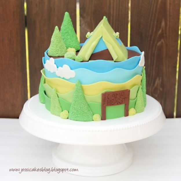 Baby Shower Cakes DIY - Camping Tent Baby Shower Cake - Easy Cake Recipes and Cupcakes to Make For Babies Showers - Ideas for Boys and Girls, Neutral, for Twins