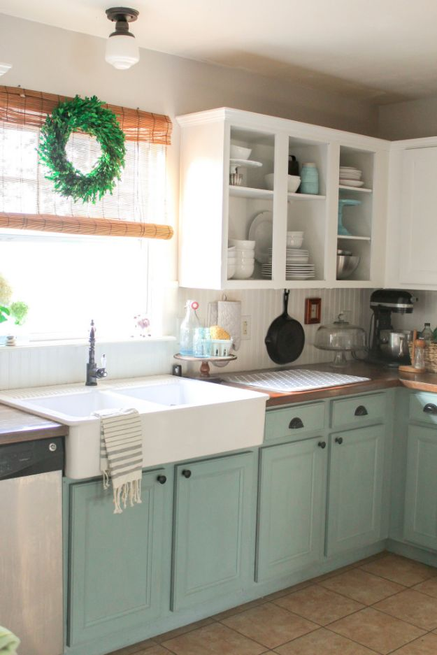 DIY Kitchen Cabinets - Chalk Paint Kitchen Cabinet Refresh - Makeover Ideas for Kitchen Cabinet - Build and Design Kitchen Cabinet Projects on A Budget - Cheap Reface Idea and Tutorial