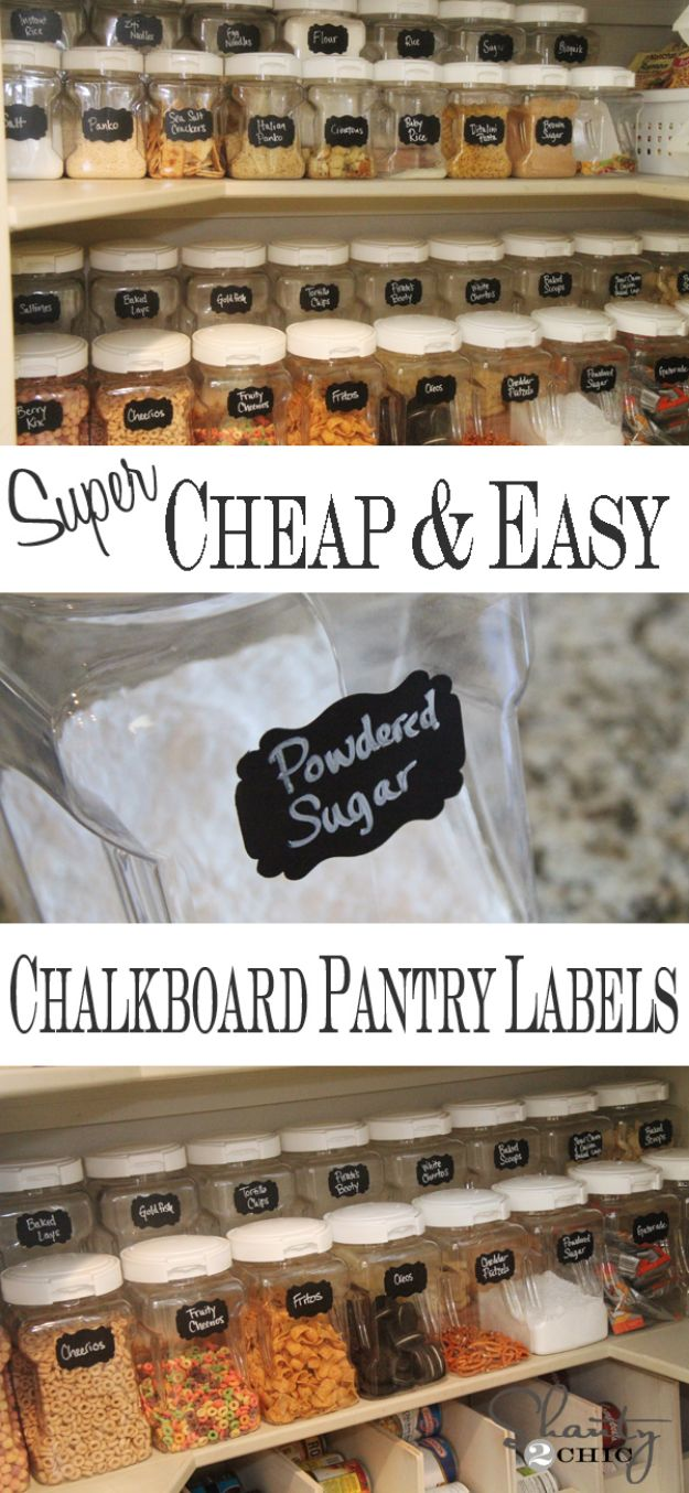 DIY Pantry Organizing Ideas - Chalkboard Pantry Labels - Easy Organization for the Kitchen Pantry - Cheap Shelving and Storage Jars, Labels, Containers, Baskets to Organize Cans and Food, Spices