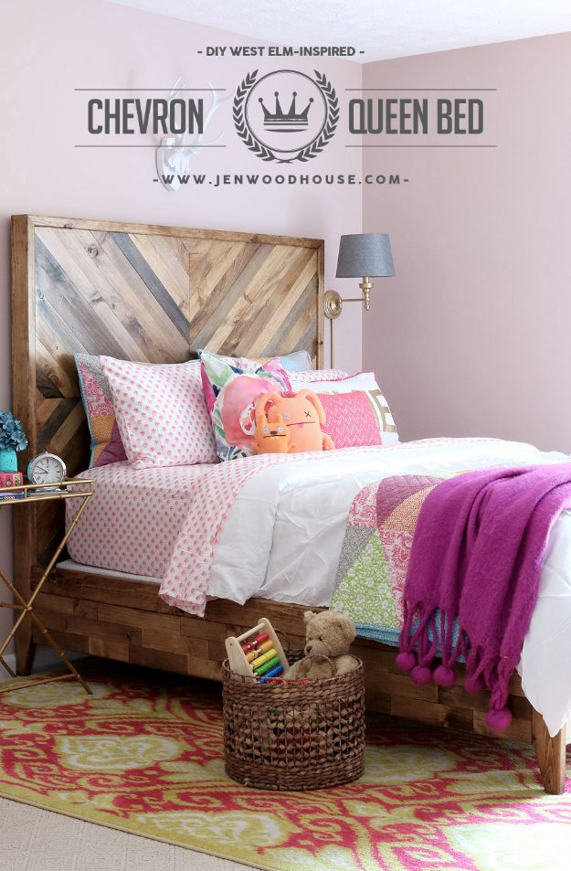 Rustic Farmhouse DIY Bedroom Decor Ideas - Chevron Reclaimed Wood Bed - DIY Bed to Make for Bedroom With Free Plans -Easy Room Decor Projects for The Home - DYI Furniture Ideas