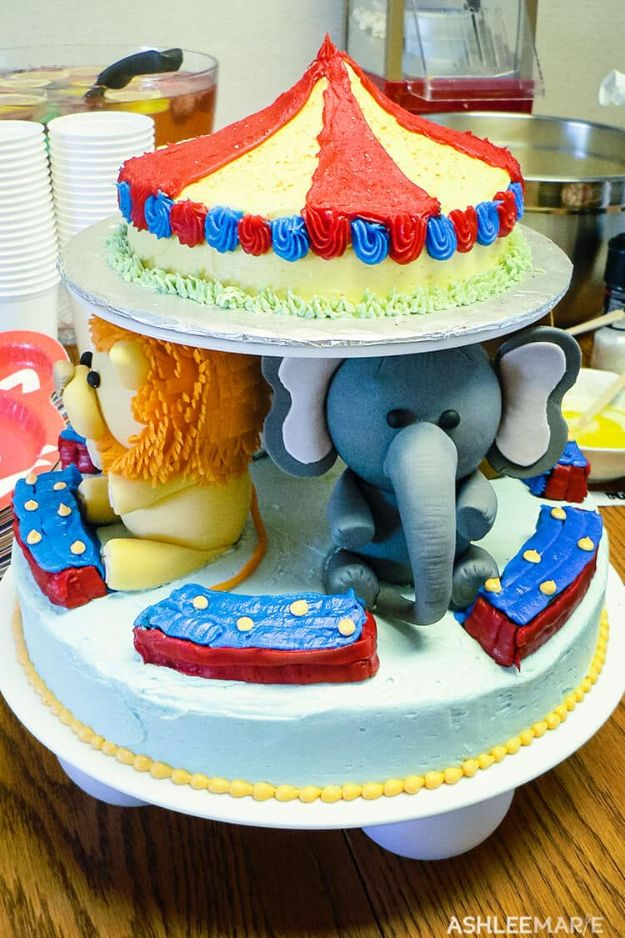 Baby Shower Cakes DIY - Circus Baby Shower Cake - Easy Cake Recipes and Cupcakes to Make For Babies Showers - Ideas for Boys and Girls, Neutral, for Twins