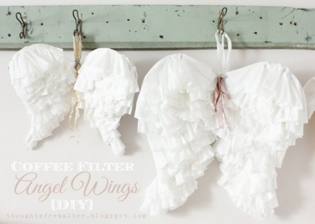 DIY Nursery Decor Ideas for Girls - Coffee Filter Angel Wings - Cute Pink Room Decorations for Baby Girl - Crib Bedding, Changing Table, Organization Idea, Furniture and Easy Wall Art