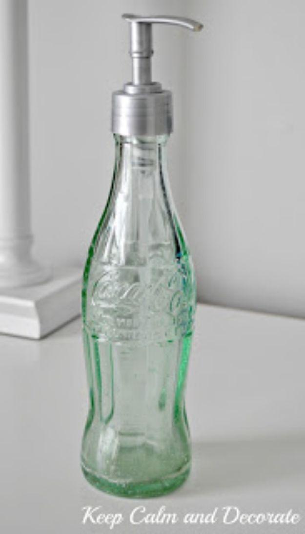 DIY Soap Dispensers - Coke Bottle Soap Dispenser - Easy Soap Dispenser Ideas to Make for Kitchen, Bathroom - Mason Jar Idea, Cute Crafts to Make and Sell, Kids Bath Decor