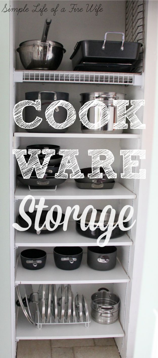 DIY Pantry Organizing Ideas - Cookware Storage - Easy Organization for the Kitchen Pantry - Cheap Shelving and Storage Jars, Labels, Containers, Baskets to Organize Cans and Food, Spices
