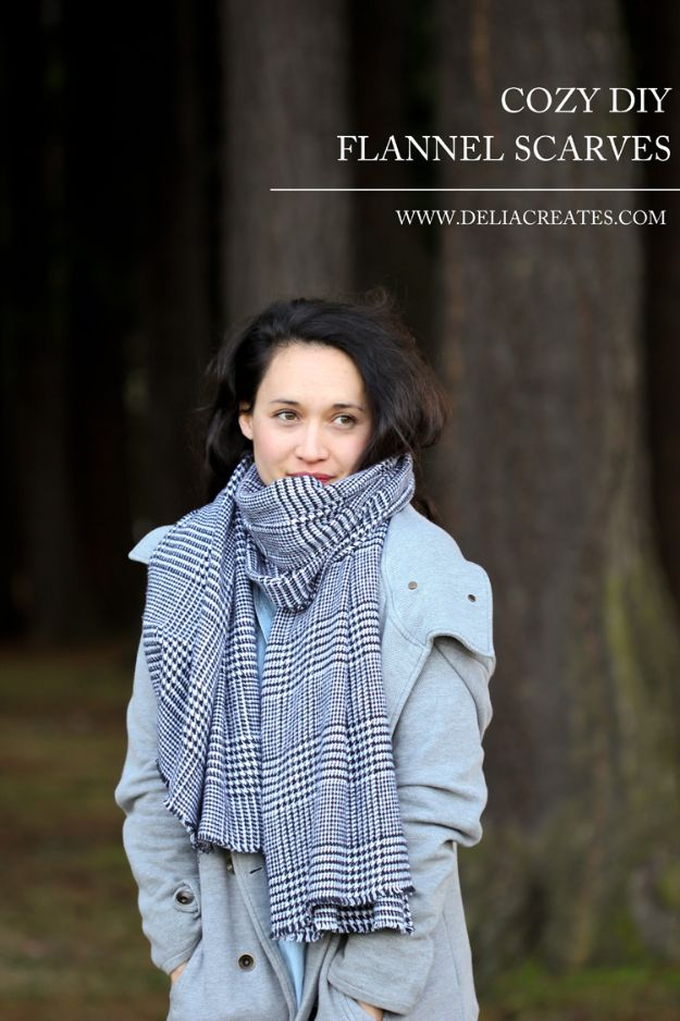 Sewing Projects to Make and Sell - Cozy DIY Flannel Scarves - Easy Things to Sew and Sell on Etsy and Online Shops - DIY Sewing Crafts With Free Pattern and Tutorial