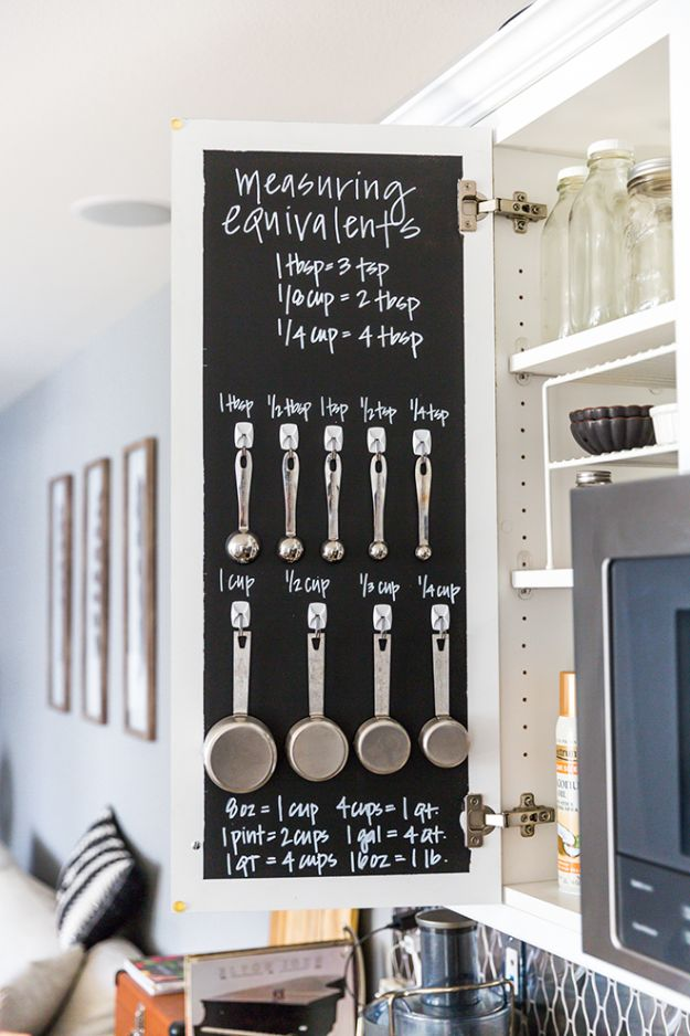 DIY Pantry Organizing Ideas - Create A Chalkboard Measuring Cabinet - Easy Organization for the Kitchen Pantry - Cheap Shelving and Storage Jars, Labels, Containers, Baskets to Organize Cans and Food, Spices