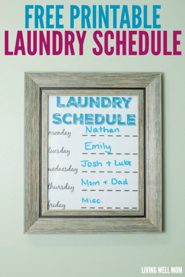 Laundry Hacks - Create Laundry Schedule - Cool Tips for Busy Moms and Laundry Lifehacks - Laundry Room Organizing Ideas, Storage and Makeover - Folding, Drying, Cleaning and Stain Removal Tips for Clothes - How to Remove Stains, Paint, Ink and Smells - Whitening Tricks and Solutions - DIY Products and Recipes for Clothing Soaps http://diyjoy.com/laundry-hacks
