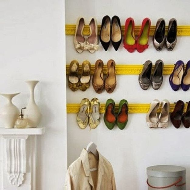 DIY Shoe Racks - Crown Molding as Shoe Rack - Easy DYI Shoe Rack Tutorial - Cheap Closet Organization Ideas for Shoes - Wood Racks, Cubbies and Shelves to Make for Shoes