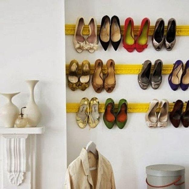 DIY Shoe Racks - Crown Molding as Shoe Rack - Easy DYI Shoe Rack Tutorial - Cheap Closet Organization Ideas for Shoes - Wood Racks, Cubbies and Shelves to Make for Shoes