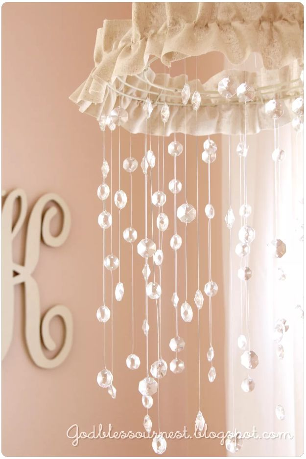 DIY Nursery Decor Ideas for Girls - Crystal Baby Mobile - Cute Pink Room Decorations for Baby Girl - Crib Bedding, Changing Table, Organization Idea, Furniture and Easy Wall Art