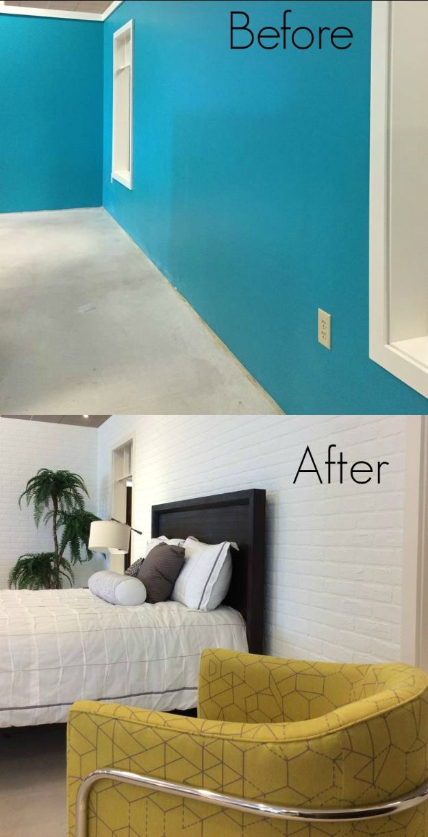 DIY Bedroom Decor Ideas - DIY A White Faux Brick Wall - Easy Room Decor Projects for The Home - Cheap Farmhouse Crafts, Wall Art Idea, Bed and Bedding, Furniture