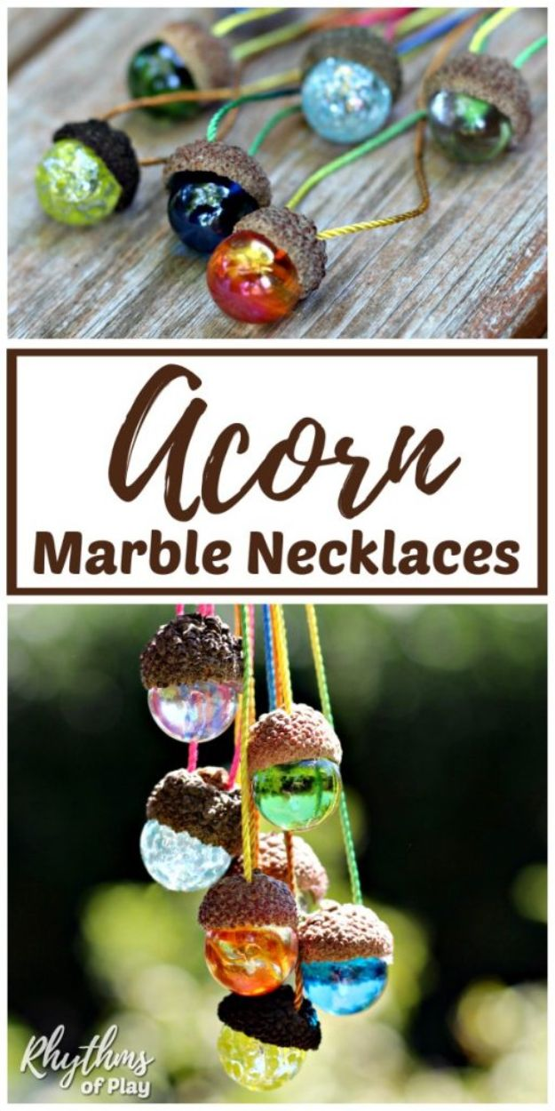 Fun DIY Ideas for Adults - DIY Acorn Marble Necklace Nature Craft - Easy Crafts and Gift Ideas , Cool Projects That Are Fun to Make - Crafts Idea for Men and Women
