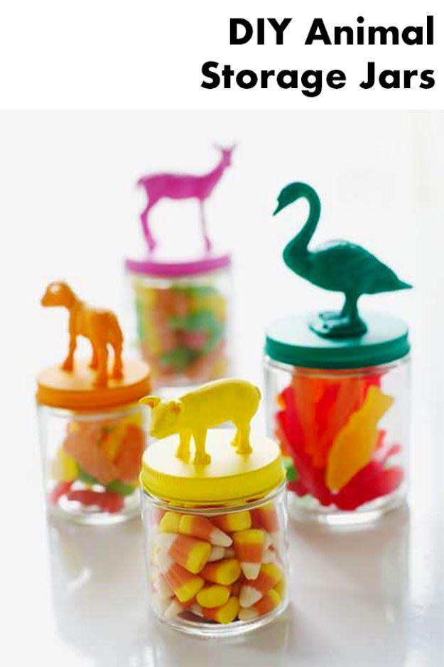DIY Nursery Decor Ideas for Boys - DIY Animal Storage Jars - Cute Blue Room Decorations for Baby Boy- Crib Bedding, Changing Table, Organization Idea, Furniture and Easy Wall Art